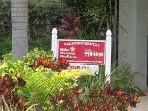 Home rental sign on anna maria